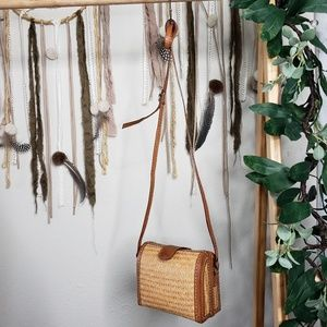 Bamboo Woven Structured Crossbody Bag Vintage